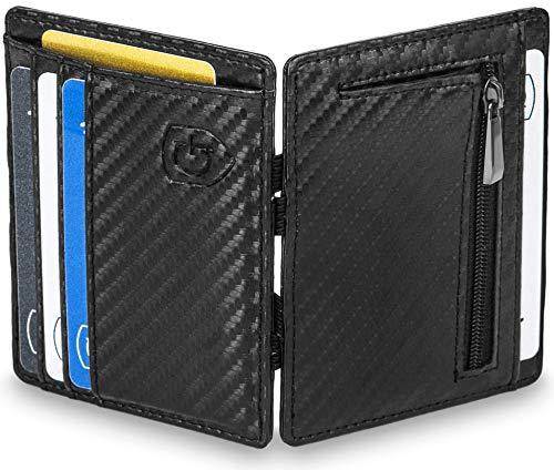 GenTo® Magic Wallet Vegas - TÜV geprüfter RFID, NFC Schutz - Geschenk für Damen und Herren | Design Germany (Carbon)