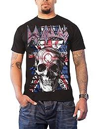 Def Leppard T Shirt Union Jack Skull Band Logo Official Mens Black