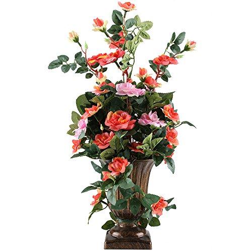 MIHOUNION Künstliche Blumen Rose Bush Bonsai Natürliche Seide Blumen Gestecke Haus Küche Tisch Dekor Hochzeit Regalen Farbkombination Blüten