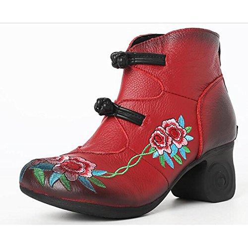 HSXZ Scarpe donna Vacchetta Autunno Inverno Comfort Bootie stivali Chunky tallone punta tonda Babbucce/stivaletti di abbigliamento casual Rosso Nero Grigio Black