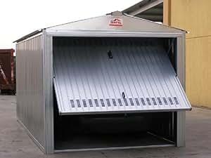 Box casetta in lamiera zincata con struttura in acciaio zincato mt. 5,07x2,60x2,11 h con porta basculante mod. SAPILBOX
