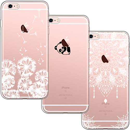 blossom01 [3 Stück] iPhone 6 Plus Hülle, iPhone 6S Plus Hülle, Cute Funny Kreative Cartoon Transparent Silikon Bumper für iPhone 6 Plus / 6S Plus - Löwenzahn & Panda & Mandala