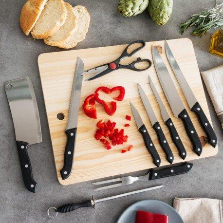 Messerset mit Schärfer und Schneidebrett (11 Teile)