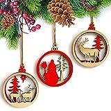 Cloud ROM CLOOM 3Pcs Holz Weihnachtsbaum Anhänger Hanging Weihnachten Dekoration Geschenk Weihnachtsfenster-Verzierungen Anhänger Baumschmuck Weihnachten Deko Tür Fenster Home Deko (rot)