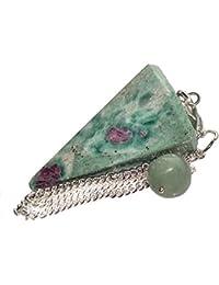 Péndulo cónico de cristal para radiestesia y sanación - gemas naturales genuinas (Rubí en Zoisita)
