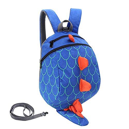 Imagen de fristone  para niños / dinosaurio pequeña bebes guarderia bolsa con arneses de seguridad,azul