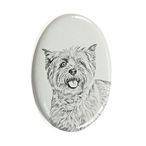 Cairn Terrier, Oval Grabstein aus Keramikfliesen mit einem Bild eines Hundes