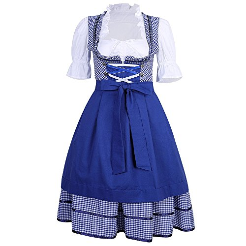 KAGU CULTURE 3 tlg. Oktoberfest Dirndl Set - Trachtenkleid, Bluse, Schürze ()