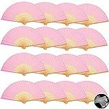 Evance 16 Piezas Abanicos Plegables de Mano Abanicos de Papel y Bambú Paper Fan Color Rosa para Decoración Fiesta Baile Boda Casa Oficina DIY Regalo (16 peiza Rosa)