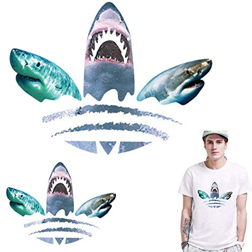 TOTAL HOME : Heat Iron Transfer Vinyl Tshirt Patch Shark Fish Iron On Transfer for Clothes Ironing Sticker Thermal PVC Applique Badges