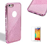 For iPhone 7 Case 4.7inch Cover with Free Screen Protector,Funyye Bling Flash Powder Rhinestone Electroplate Plating Frame Crystal Soft Gel Silicone TPU Embedded Diamond with Lovely and sparkly in Different Color Case Cover for iPhone 7-Pink