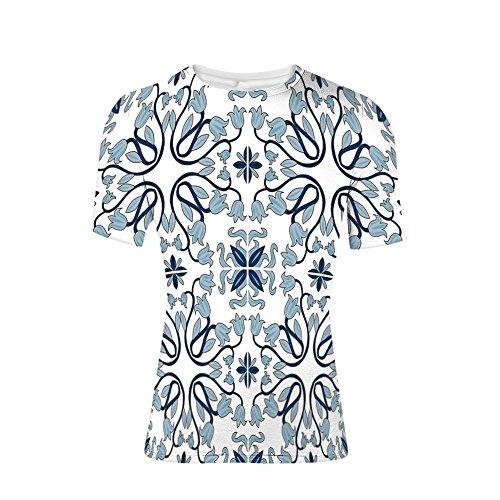 T-Shirt mit kurzen Ärmeln, persische Palast Blume Blatt Formen arabischen Dekor, cool 3D-Druck der Männer - Dekor Persische