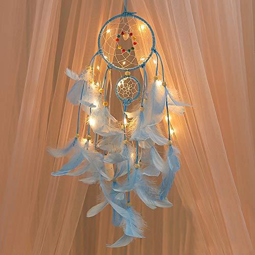 coersd Lámpara Decorativa Hecha a Mano atrapasueños, Plumas, luz de Noche, Coche, Pared, para Colgar en la habitación, decoración del hogar (Azul)