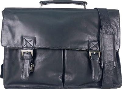 Unicorn Real Leather 164 Laptop Bag Messenger Briefcase Black 3f
