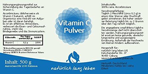 Vitamin C Pulver, Ascorbinsäure 500 g – GMO frei   Frei von Farbstoffen, Süßstoffen, künstlichen Konservierungsmitteln, Laktose, Gluten & Gelatine