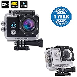 Captcha Wi-Fi 4K Waterproof Sports Action Camera - 4K Ultra HD, 16MP,2 Inch LCD Display With Action Camera 1080p 2-Inch Lcd 140 Degree Wide Angle Lens Waterproof Diving(upto 30m) Compatible with Xiaomi, Lenovo, Apple, Samsung, Sony, Oppo, Gionee, Vivo Smartphones (One Year Warranty)