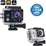 Drumstone Wi-Fi 4K Waterproof Sports Action Camera - 4K Ultra HD, 16MP,2 Inch LCD Display With Action Camera 1080p 2-Inch Lcd 140 Degree Wide Angle Lens Waterproof Diving(upto 30m) Compatible With Xiaomi, Lenovo, Apple, Samsung, Sony, Oppo, Gionee, Vivo S
