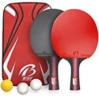 Weeygo Professional Table Tennis Bats Table Tennis Set Rubber Ping Pong Paddles for Indoor Outdoor Training Games with Carry Bag, Shakehand