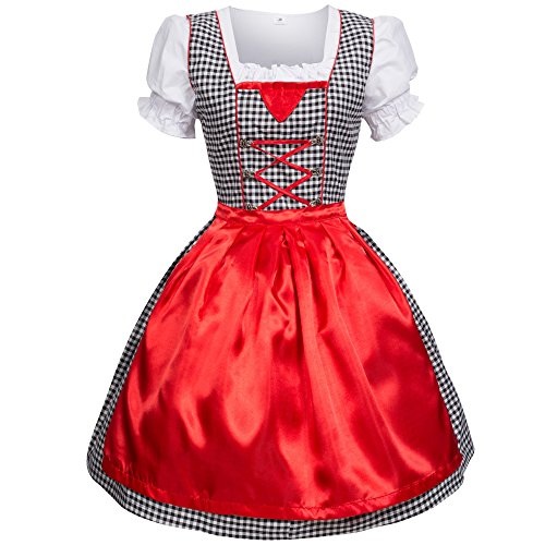 Dirndl 3 tlg.Trachtenkleid Kleid, Bluse, Schürze, Gr. 36 schwarz/weiss kariert