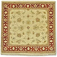 Tradizionale stile persiano Chobi Handmade quadrato tappeto, lana, bianco, 93x