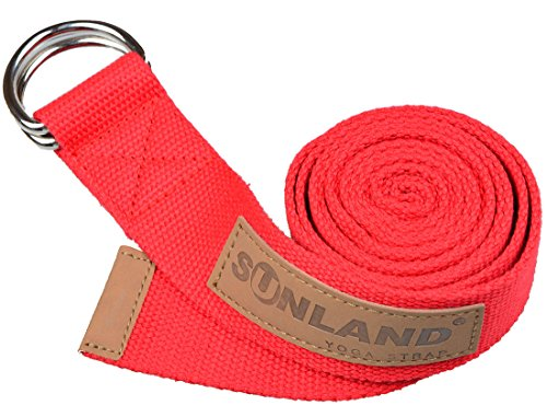 Sunland Yoga Pilates Exercice Stretching Ceinture Fitness Formation Sangle de yoga 183cm Rouge