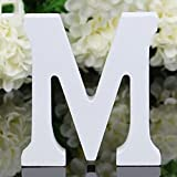Gemini_mall® Woodcraft White Wooden Alphabet Letters Wedding Party Birthday Toys Home Decorations (Letter M)