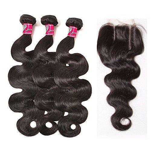 SAOMAI 4pcs/lot Brazilian Virgin Hair With Closure 7A Grade 3 Bundles Human Hair Weave Body Wave With Lace Closure 4*4 Three Part (121416+three part10) ... by SAOMAI
