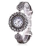 EUZeo Damen Runde Luxuriöse Diamant Zifferblatt Elegante Blumen Armband Uhr Analoge Quarzwerk Armbanduhr