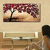 TTKX@ New Handmade Modern Canvas on Oil Painting Palette Knife Tree 3D Flowers Paintings Home Living Room Decor Wall Art,90X180Cm,Black