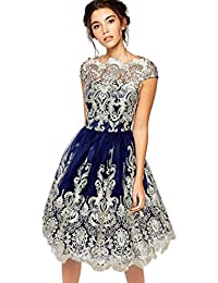 982a886382 LMMVP Vestido de Mujer Señoras Sexy Cordón Bordado Paseo Formal Dama de  Honor Boda Princesa Elegante