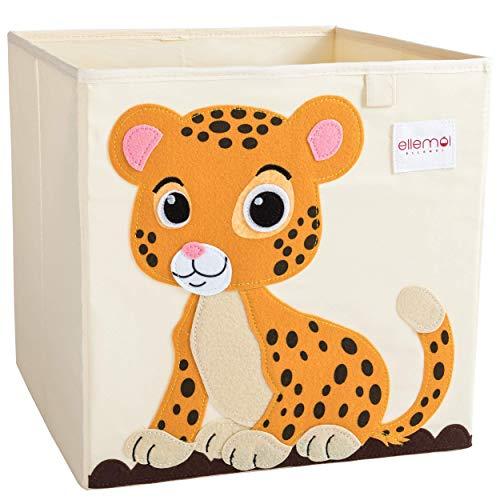 ELLEMOI Aufbewahrungsboxen für Kinderzimmer Große Kapazität Faltbar Aufbewahrung Spielzeug, Kleidung, Schuhe Aufbewahrungsbox (Leopard) (Sprouts Aufbewahrungsbox)