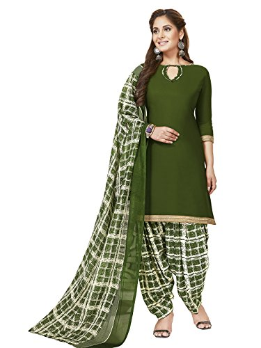 Jevi Prints Women's Unstitched Synthetic Crepe Green Solid Printed Salwar Suit Dupatta...