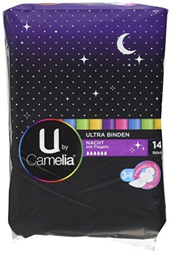 U by Camelia Ultra Binden mit Flügeln Lang Nacht, 6er Pack (6 x 14 Stück)
