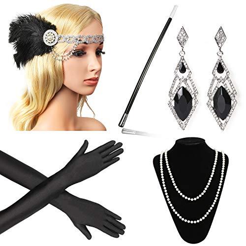Beelittle 1920er Jahre Zubehör Set Flapper Stirnband, Halskette, Handschuhe, Zigarettenspitze Great Gatsby Zubehör für Frauen (F6)