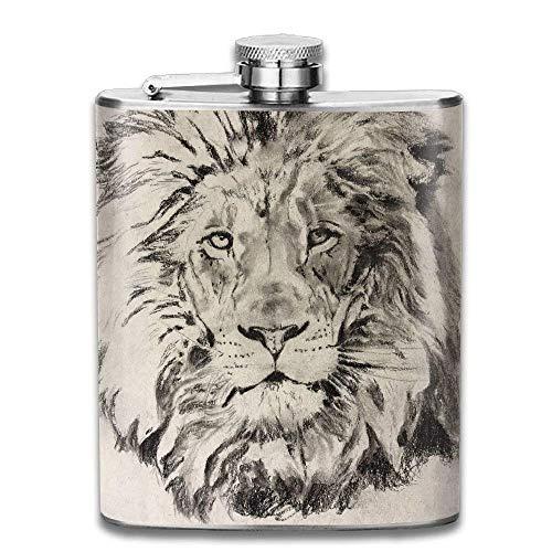 Sketch Fun Lion Animal Fashion Portable Stainless Steel Hip Flask Whiskey Bottle 7 Oz -