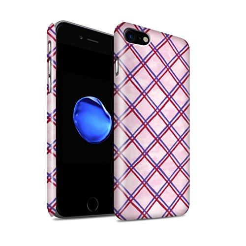 STUFF4 Glanz Snap-On Hülle / Case für Apple iPhone 8 / Grün/Schwarz Muster / Kreuz Muster Kollektion Lila/Rot
