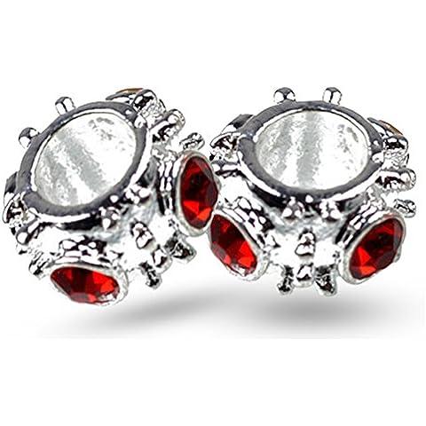 Sterling Silver, 2 perline, Gennaio Birthstone e Cancer Zodiac, Cristalli Ruby Red Perle fascino europeo, adatta il braccialetto, pendente, collana - Cristallo Gennaio Charm