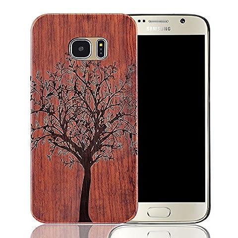 Coque Galaxy S7, Sunroyal® Samsung Galaxy S7 Coque Solide Bois Véritable + PC Bumper Dur Hard Housse Etui Hybride en Bois Naturel Sculpté Wood Case Cover Rigide Bumper pour Samsung Galaxy S7 SM-G930F – Arbre