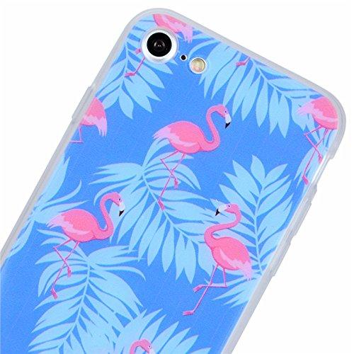 iPhone 7 Hülle, Yokata Weich TPU Soft Case mit Silikon Bumper Schutzhülle Dünne Case Cover + 1 X Stylus Pen - Flamingo Flamingos
