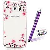 LOOKAY Coque Galaxy S6 Edge,Etui Ultra Mince Housse Silicone Transparent pour Samsung Galaxy S6 Edge Coque de Protection en TPU avec Absorption de Choc Bumper et Anti-Scratch, Fleur de Prunier