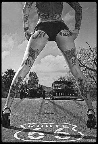 Pinup/Pin up sexy Frau Erotik Route 66 Tattoo mit Hot Rod blechschild