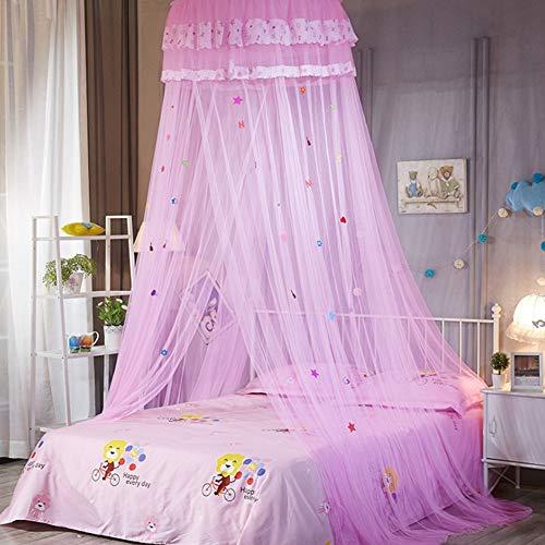 Elegante Kinderbett (SADA72 Betthimmel Betthimmel Moskitonetz für Bett, Spitze Kuppelnetz Bettwäsche mit eleganter Rüschen Spitze für Mädchen und Baby, Rose, Free Size)