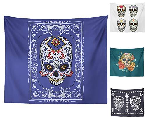 st Halloween Party Wandteppiche Wand Drucken Stoff Wandteppiche für Schlafzimmer Wohnzimmer Dorm - Schädel - Porcelain Skull - Portrait Small ()
