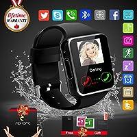 Reloj inteligente Bluetooth con cámara, reloj desbloqueado del teléfono celular Ranura para tarjeta SIM Reloj con pantalla táctil Smartwatch para Android Samsung iOS iPhone 7 8 Plus Niños Mujeres Hombres (Black-5)