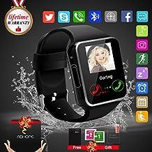 Bluetooth SmartWatch con Macchina Fotografica,Touchscreen SmartWatch, Orologio Intelligente,Watch Phone with Sim Card Per Android Samsung IOS Iphone 7 Plus 6 6S Uomini Donne Bambini Ragazze Ragazzi (Nero)