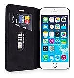 wiiuka Echt Ledertasche TRAVEL Apple iPhone 6S Plus und iPhone 6 Plus (5.5″) mit Kartenfach extra Dünn Tasche Schwarz Premium Design Leder Hülle - 2
