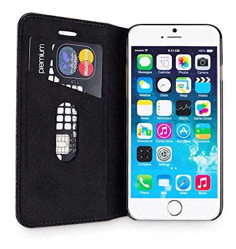 """WIIUKA Echt Ledertasche """"TRAVEL"""" Apple iPhone 8 mit Kartenfach extra Dünn Tasche Schwarz Rot RED EDITION Premium Design Leder Hülle Schwarz"""