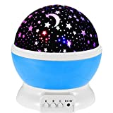 #7: BRANDX Imported Night Light Lamp, Sky Moon Star Projector ,360 Degree Rotation , 4 LED Bulbs, 3 Mode Light, Color Changing With USB Cable for Kids Baby Bedroom Gifts in Blue Color