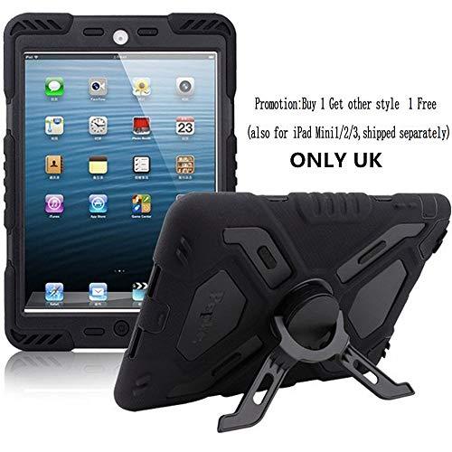 iPad Mini Hülle für Kinder, extrem militärgeprüfte, robuste Qualität, Staub/stoßfest mit Ständer, Tablets Hybrid Schutzhülle für iPad Mini1/Mini2/Mini3(Schwarz) (Kinder Fälle Für Mini Ipad)