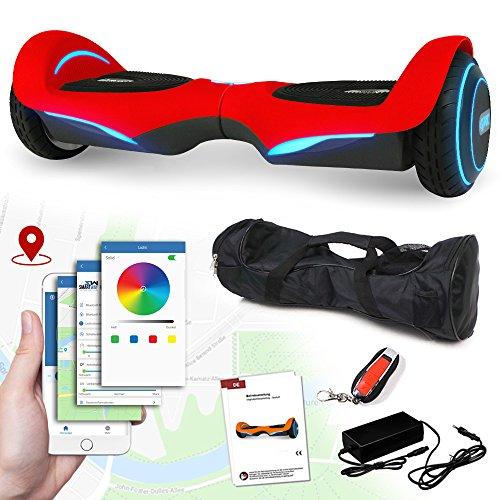 Balance Scooter Vision 800 Watt mit App Funktion, beleuchtete Felgen mit RGB-LED Farbwechsel, Bluetooth Lautsprecher, Kinder Sicherheitsmodus Elektro Self Balance E-Scooter (rot)